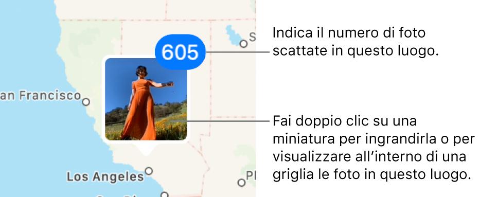 Una miniatura della foto su una mappa, con un numero nell'angolo superiore destro che indica il numero di foto scattate in quella località.
