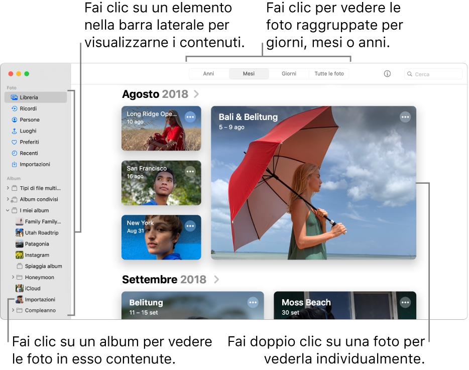 La finestra di Foto che mostra Mesi selezionato nella barra degli strumenti e le foto organizzate per mese che vengono visualizzate nell'area principale della finestra. A sinistra si trova la barra laterale, dove puoi selezionare album e progetti.