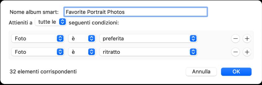 Una finestra di dialogo che mostra i criteri per un album smart che contiene foto ritratto contrassegnate come preferite.