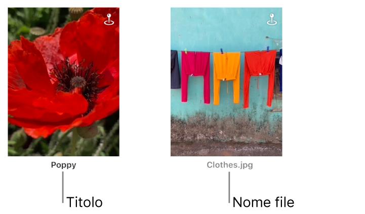 Due foto: una che mostra sotto un titolo, mentre l'altra mostra sotto il nome di un file.
