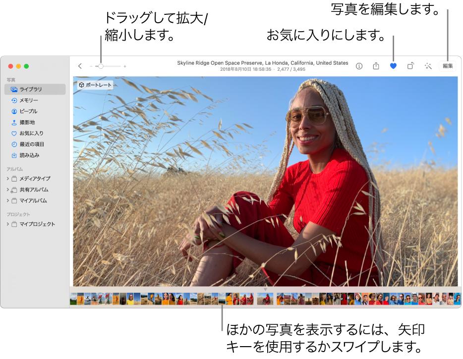 「写真」ウインドウ。右側に拡大表示された写真、下部にサムネールの列が表示されています。上部のツールバーには、「拡大/縮小」スライダ、「お気に入り」ボタン、および「編集」ボタンがあります。