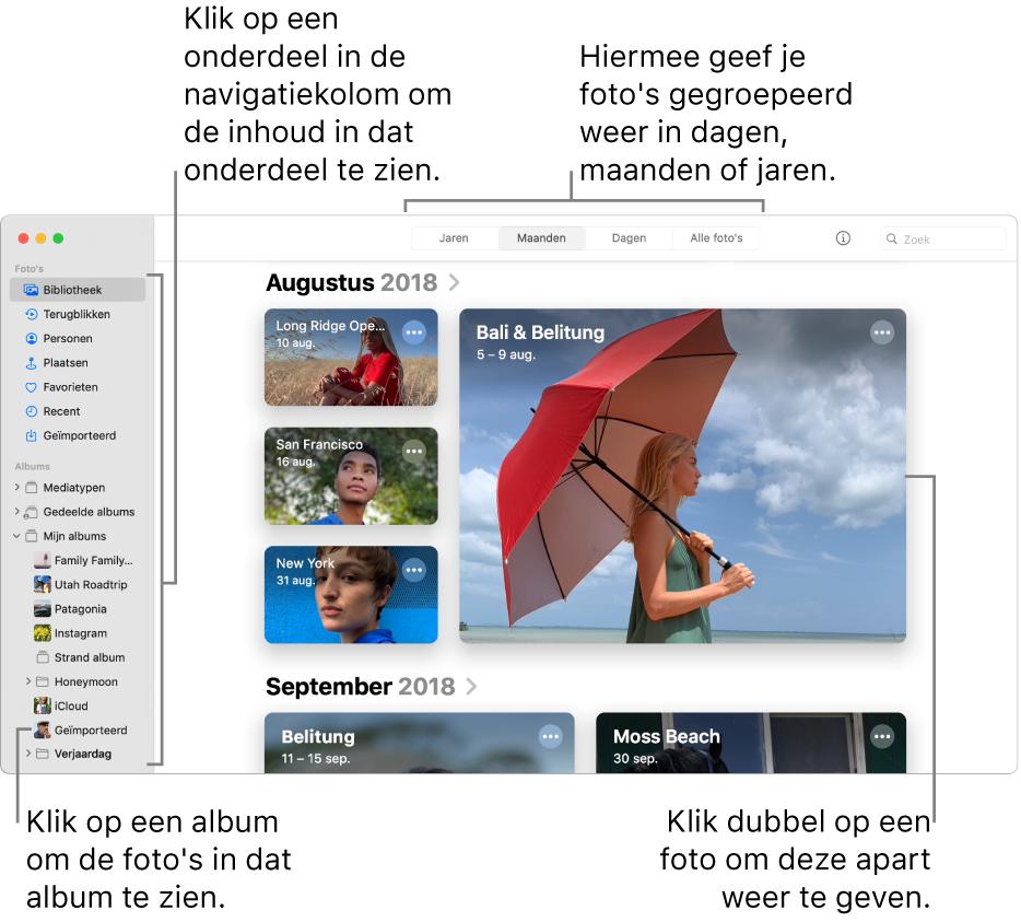 Het Foto's-venster met 'Maanden' geselecteerd in de knoppenbalk en foto's die op maand zijn geordend in het hoofdgedeelte van het scherm. Links bevindt zich de knoppenbalk, waar je albums en projecten kunt selecteren.