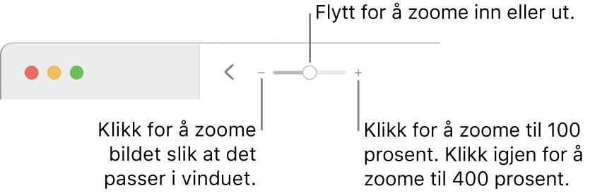 Verktøylinjen med zoomkontroller.