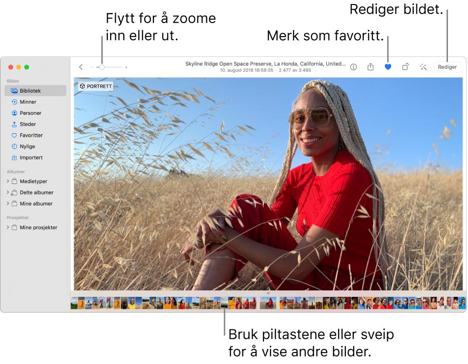 Bilder-vinduet som viser et forstørret bilde på høyre side, med en rad med miniatyrbilder under. Verktøylinjen øverst inneholder Zoom-skyveknappen, Favoritt-knappen og Rediger-knappen.