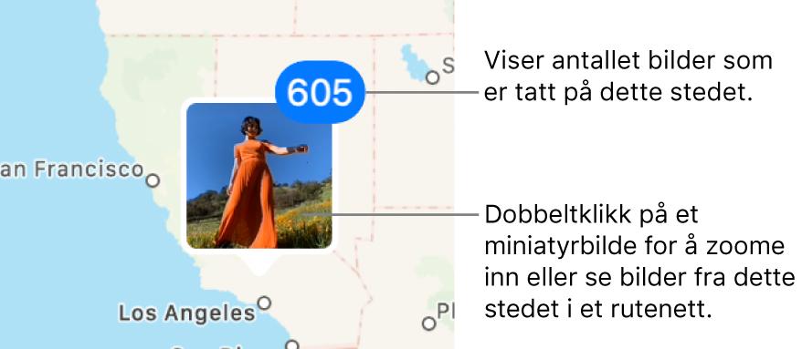 En bildeminiatyr på kartet med et tall øverst til høyre som indikerer antall bilder som er tatt på det stedet.