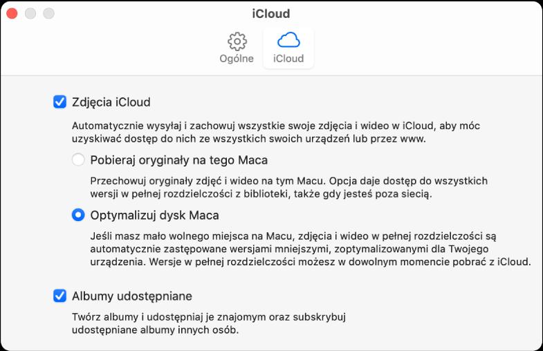 Panel iCloud wpreferencjach Zdjęć.