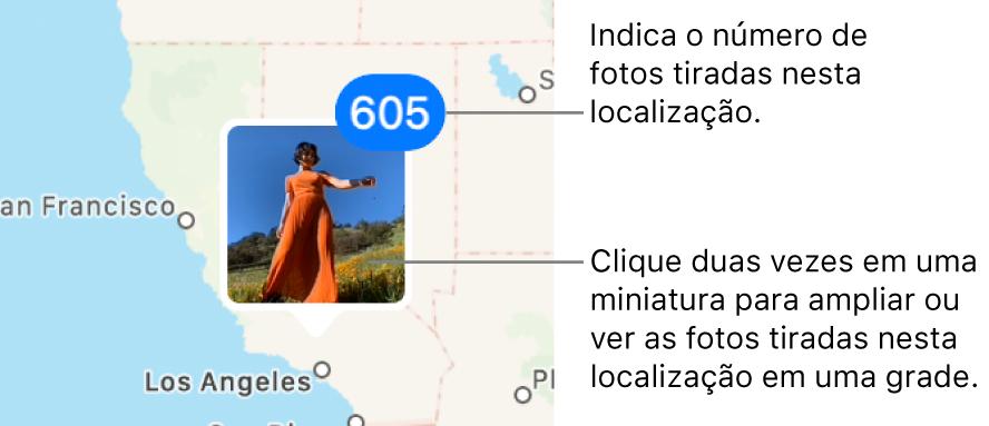 Uma miniatura de foto em um mapa, com um número no canto superior direito indicando o número de fotos tiradas no local.