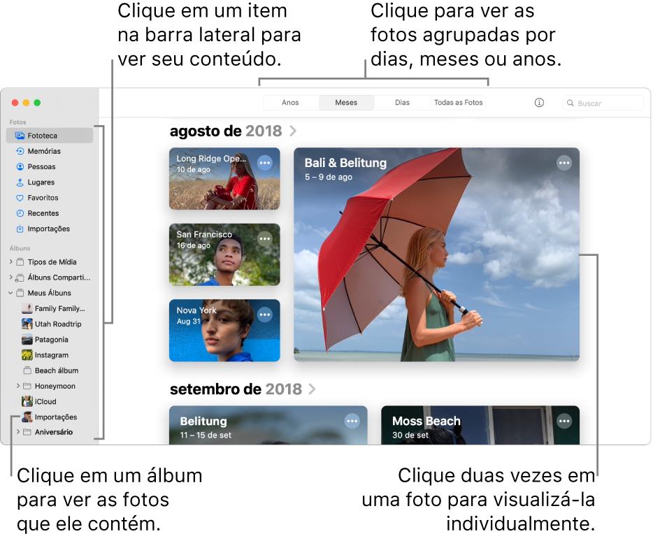 Janela do Fotos mostrando Meses selecionado na barra de ferramentas e fotos organizadas por mês aparecendo na área principal da janela. À esquerda está a barra lateral, onde é possível selecionar álbuns e projetos.
