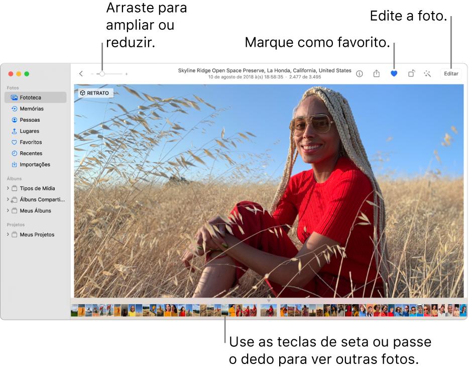 A janela Fotos mostrando uma foto ampliada à direita com uma fileira de miniaturas abaixo. A barra de ferramentas na parte superior inclui o controle deslizante de Zoom, o botão Favoritos e o botão Editar.