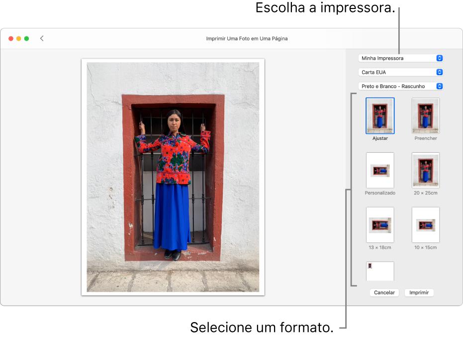 Uma janela para selecionar opções de impressão, com uma área de pré-visualização da impressão à esquerda e opções de impressão à direita.