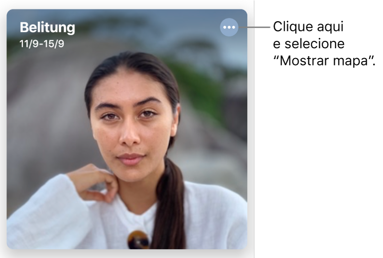 Uma fotografia a representar fotografias tiradas num dia específico, com a informação de localização na parte superior esquerda e um botão na parte superior direita com mais opções, incluindo a opção de apresentar um mapa.