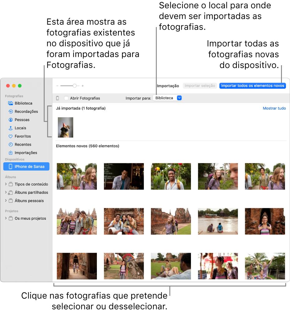 """As fotografias que já foram importadas são apresentadas na parte superior do painel, e as fotografias novas na parte inferior. Na parte superior, ao centro, encontra-se o menu pop-up """"Importar para"""". O botão """"Importar todos os elementos novos"""" encontra-se na parte superior direita."""