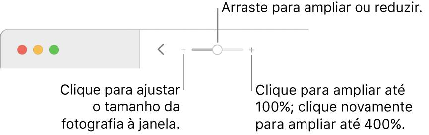 A barra de ferramentas que mostra os controlos de ampliação.