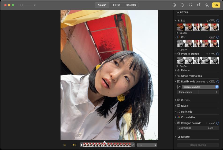 Uma fotografia na vista de edição, com as ferramentas de edição à direita