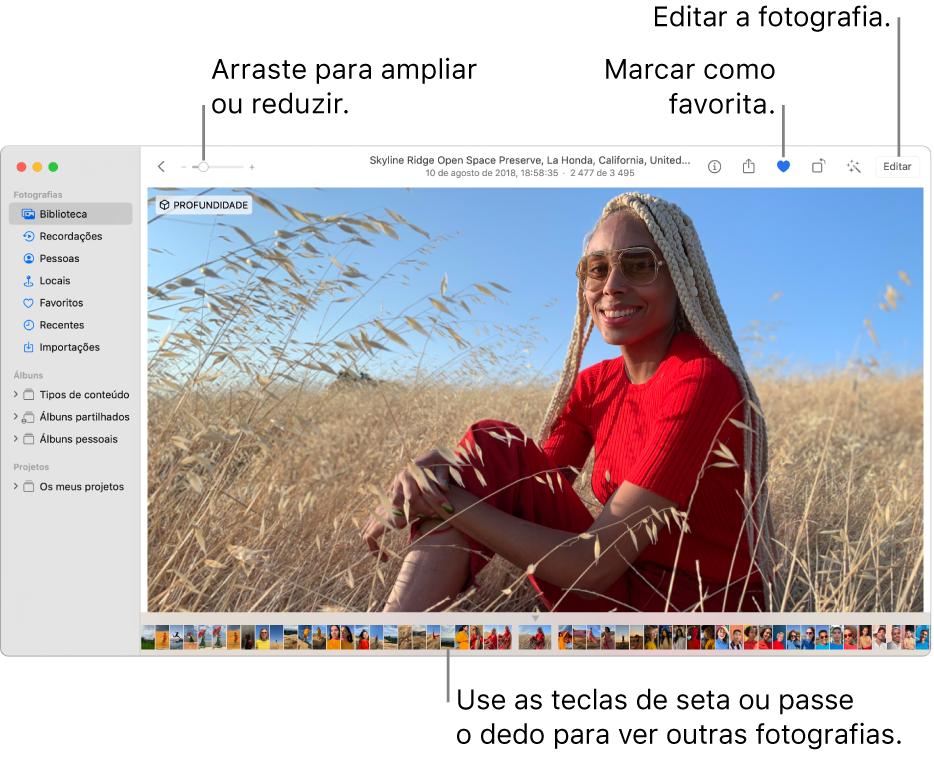 A janela de Fotografias que mostra uma fotografia ampliada à direita e uma linha de miniaturas por baixo. A barra de ferramentas na parte superior inclui o nivelador de ampliação, o botão Favorito e o botão Editar.