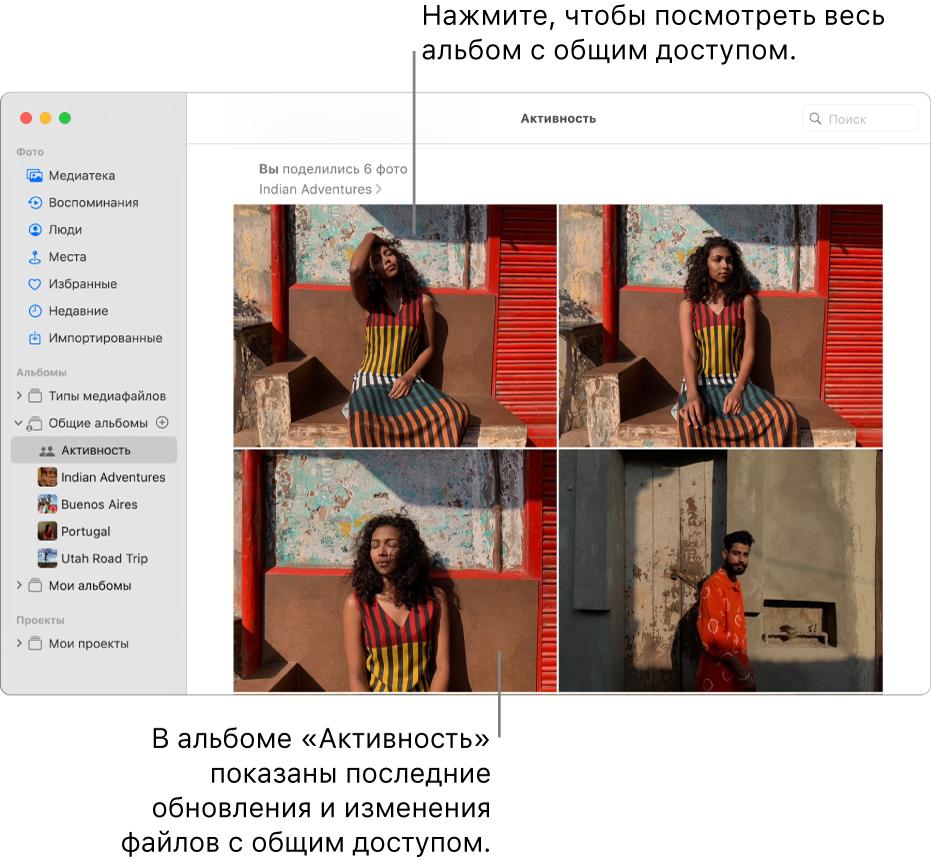 Окно приложения «Фото»: вбоковом меню выбран раздел «Активность», справа отображается альбом «Активность».