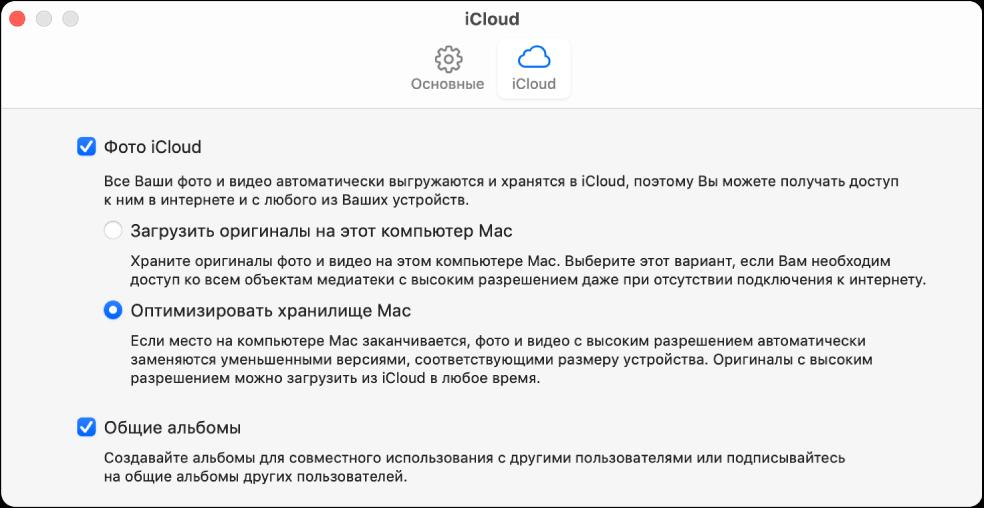 Панель «iCloud» в настройках приложения «Фото».