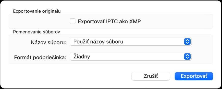 Dialógové okno zobrazujúce možnosti pre exportovanie súborov fotiek vpôvodnom formáte.