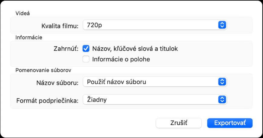 Dialógové okno zobrazujúce možnosti exportovania videí.