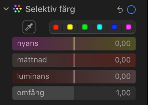 Reglaget för selektiv färg på panelen Justera med reglage för nyans, mättnad, luminans och omfång.