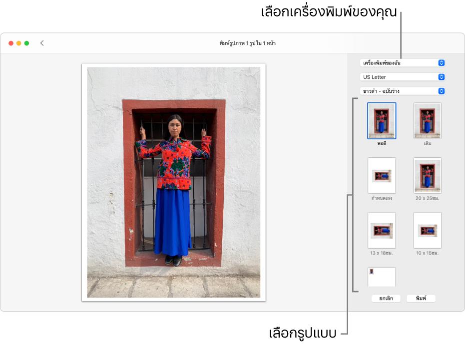 หน้าต่างสำหรับการเลือกตัวเลือกการพิมพ์ โดยมีพื้นที่แสดงตัวอย่างก่อนพิมพ์อยู่ทางด้านซ้ายและตัวเลือกการพิมพ์อยู่ทางด้านขวา