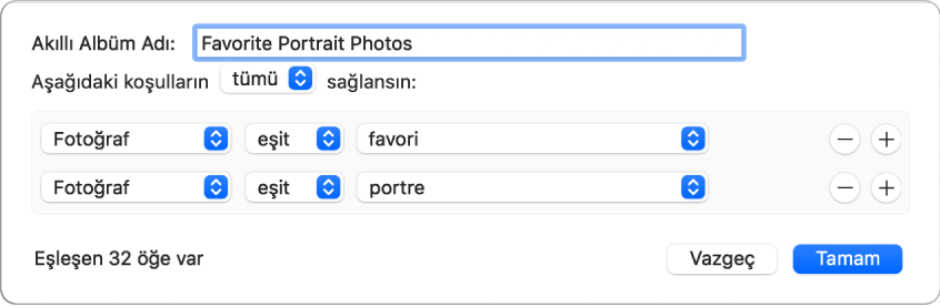 Favoriler olarak işaretlenmiş portre fotoğrafları toplayan bir Akıllı Albümün ölçütlerini gösteren sorgu kutusu.