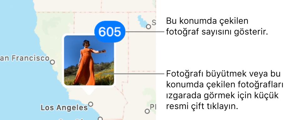 O konumda çekilmiş fotoğrafların sayısını gösteren sağ üst köşedeki sayı ile bir haritada fotoğraf küçük resmi.