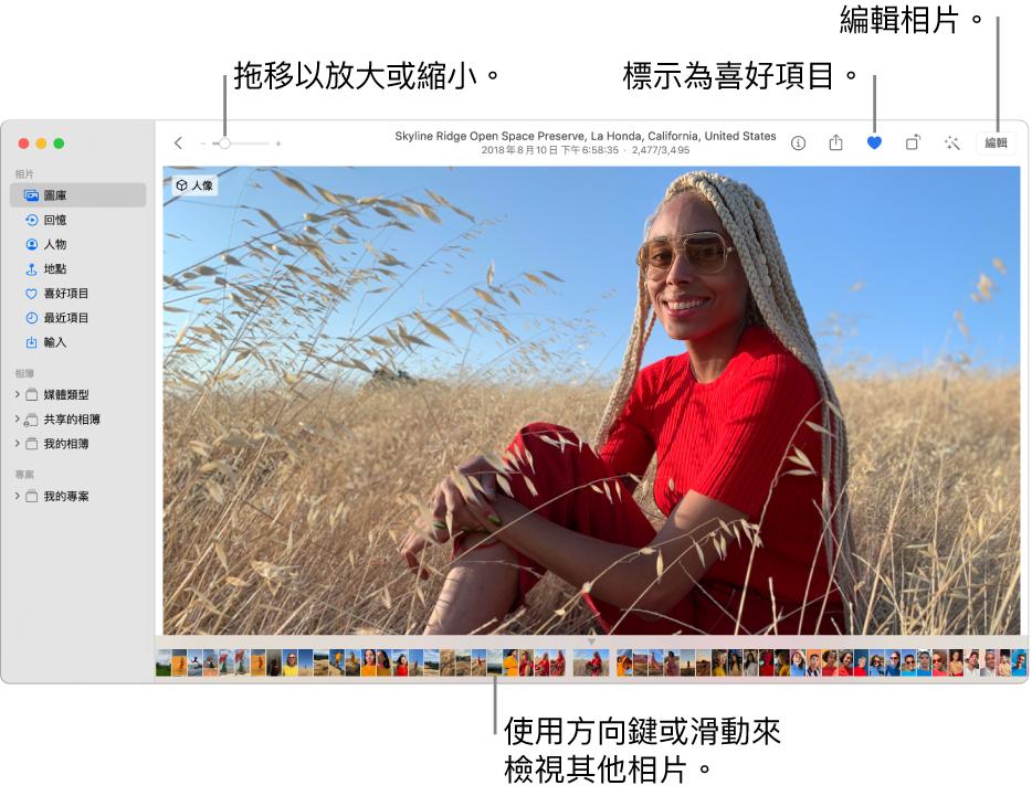 「相片」視窗在右側顯示放大的相片,下方則有一列縮圖。最上方的工具列包含「縮放」滑桿、「喜好項目」按鈕以及「編輯」按鈕。