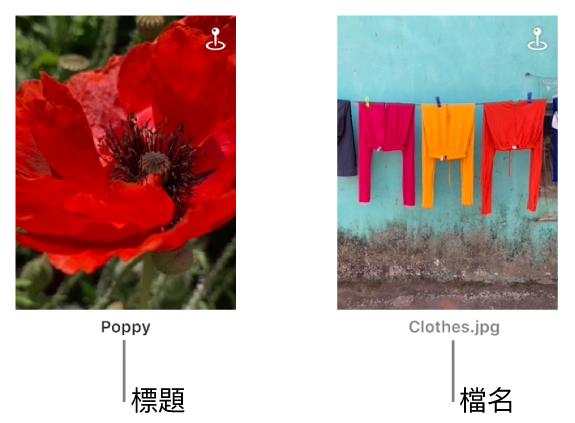 兩張相片,其中一張的下方顯示標題,另一張的下方顯示檔案名稱。