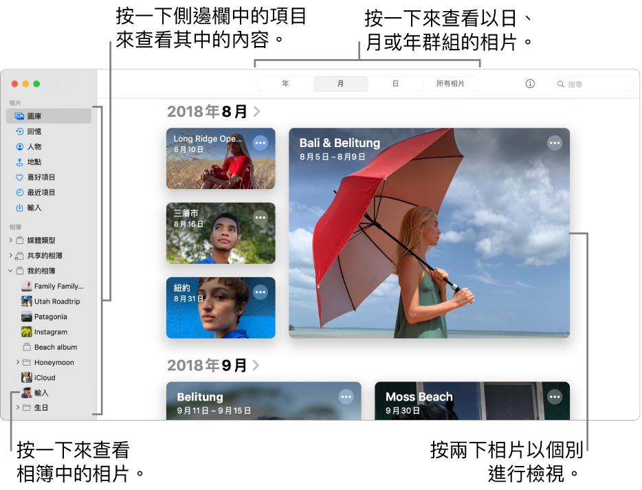 「相片」視窗顯示已在工具列中選取「月」和在視窗主要區域中顯示按月份整理的相片。左邊是讓你選取專輯和專案的側邊欄。