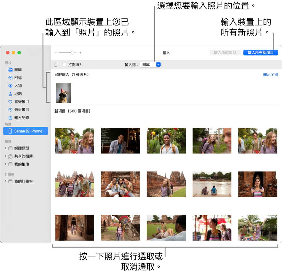 您已從裝置輸入的照片會顯示在面板最上方;新照片位於底部。最上方中間是「輸入到」彈出式選單。「輸入所有新項目」按鈕位於右上角。