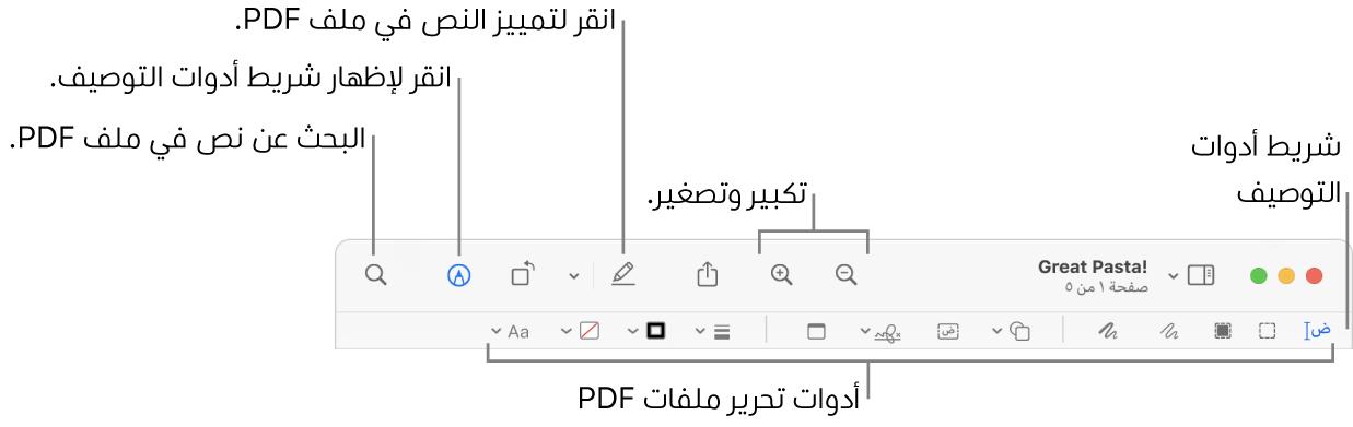 شريط أدوات التوصيف لتوصيف مستند PDF.