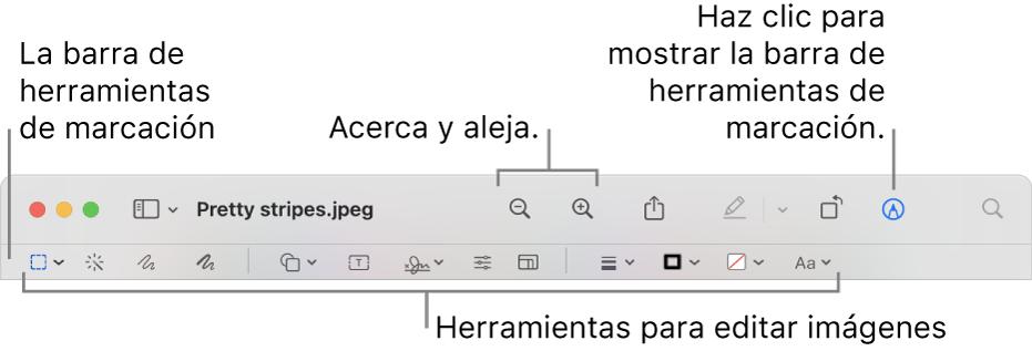 Barra de herramientas de marcación para editar imágenes.