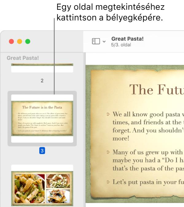 PDF, bélyegképekkel az oldalsávon.