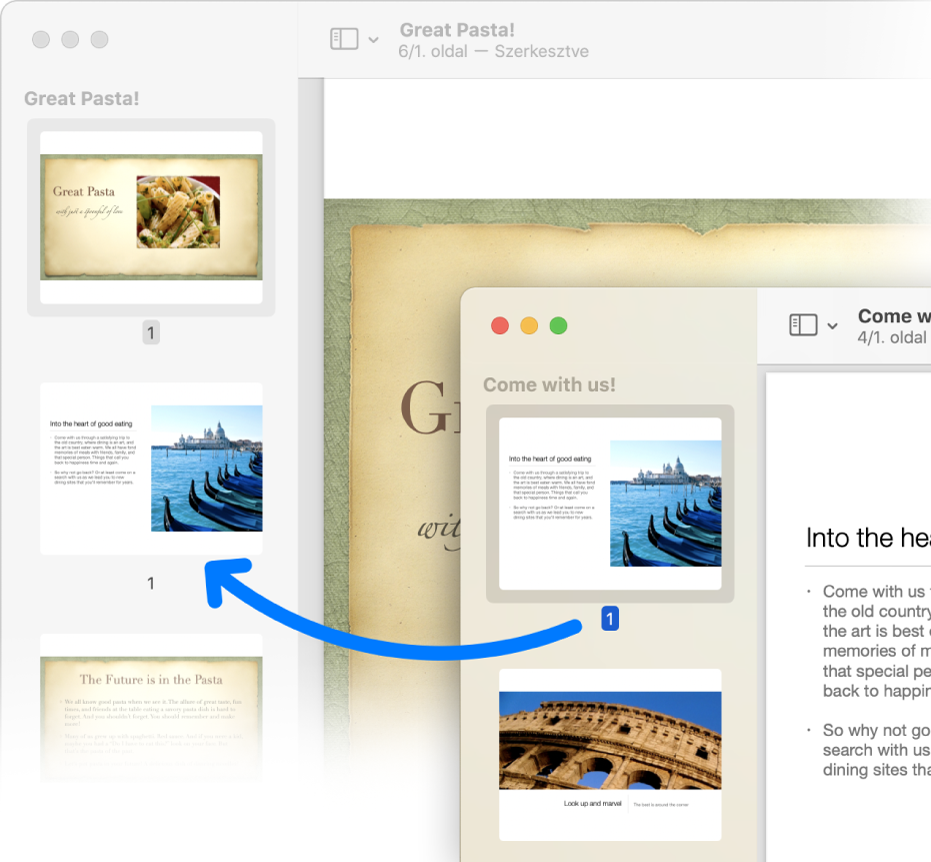 Egy oldalak bélyegképe az egyik PDF-dokumentumból a másik oldalsávjára.
