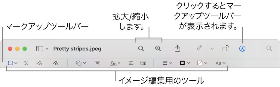 イメージを編集するためのマークアップツールバー。