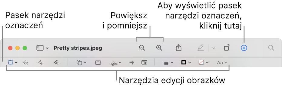 Pasek narzędzi oznaczeń do edycji obrazków.