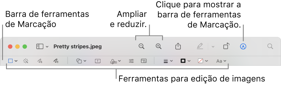 Barra de ferramentas de Marcação para editar imagens.