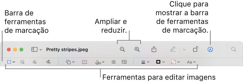 A barra de ferramentas de marcação para editar imagens.