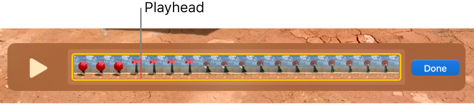 A clip in the QuickTime Player window, with the playhead near the centre of the clip.