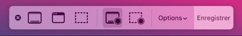 Les outils de capture d'écran avec le bouton Enregistrer à droite et le menu local Options à côté.