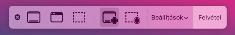 Képernyőkép eszközök, jobb oldalt a Felvétel gombbal mellette pedig a Beállítások felugró menüvel.