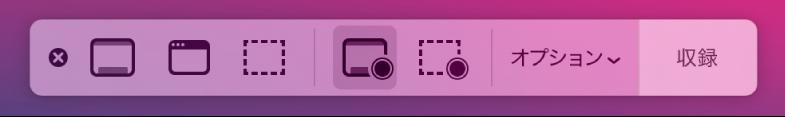 スクリーンショットツール。右側に収録ボタン、その隣に「オプション」ポップアップメニューがあります。