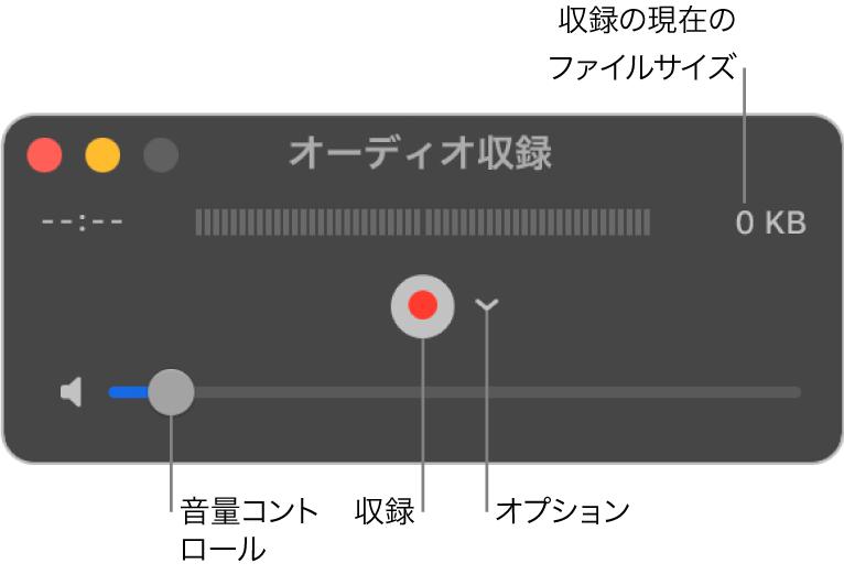 「オーディオ収録」ウインドウ。ウインドウ中央に収録ボタンおよび「オプション」ポップアップメニューがあり、下部に音量コントロールがあります。