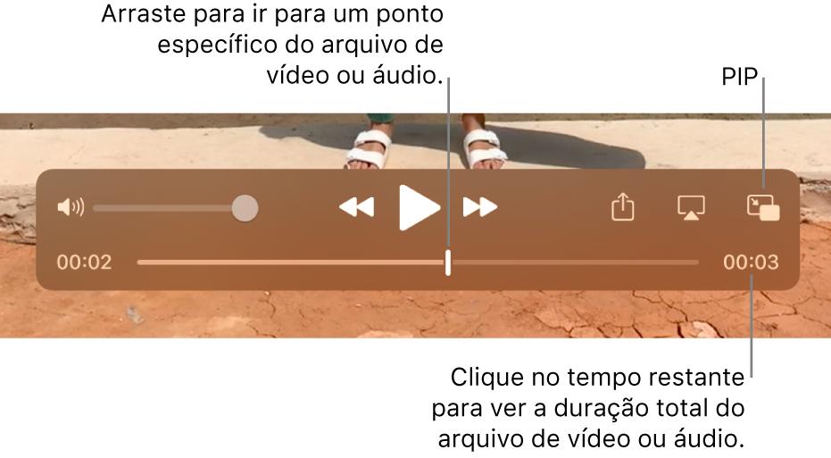 Controles de reprodução do QuickTime Player. Na parte superior, encontram-se o controle de volume, o botão Retroceder, o botão Reproduzir/Pausar e o botão Avanço Rápido. Na parte inferior, encontra-se o cursor de reprodução, que você pode arrastar até um ponto específico no arquivo. O tempo restante no arquivo é exibido na parte inferior direita.