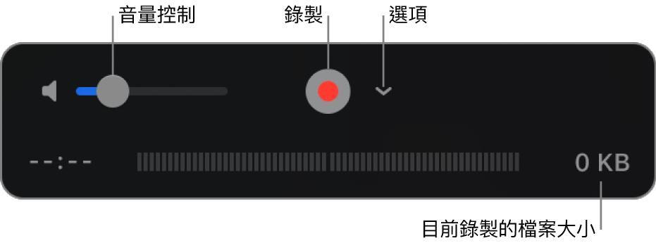 錄製控制項目,包含音量控制、「錄製」按鈕和「選項」彈出式選單。