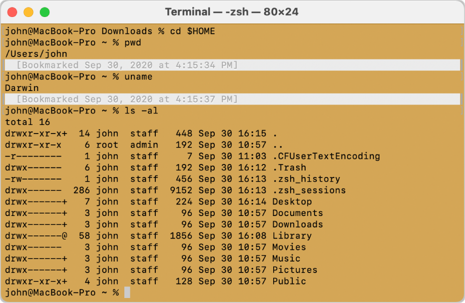 A Terminal window, showing marks and bookmarks on the left and right sides of the window, and a timestamped bookmark above a command prompt.