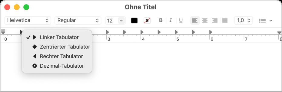 Das Lineal mit den Tabulatoroptionen