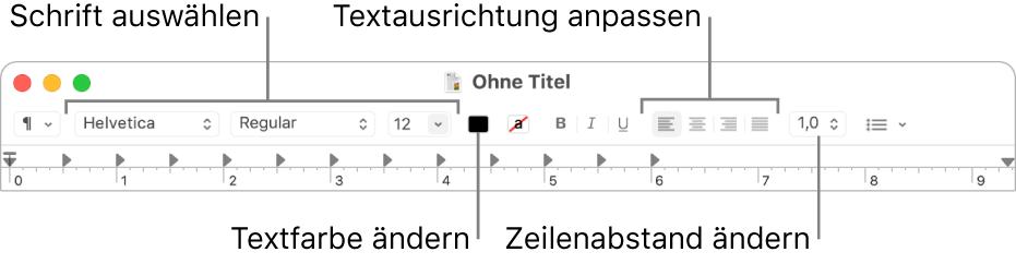 Die TextEdit-Symbolleiste für ein Textdokument mit formatiertem Text mit Schrift- und Textausrichtung und Absatzsteuerelementen
