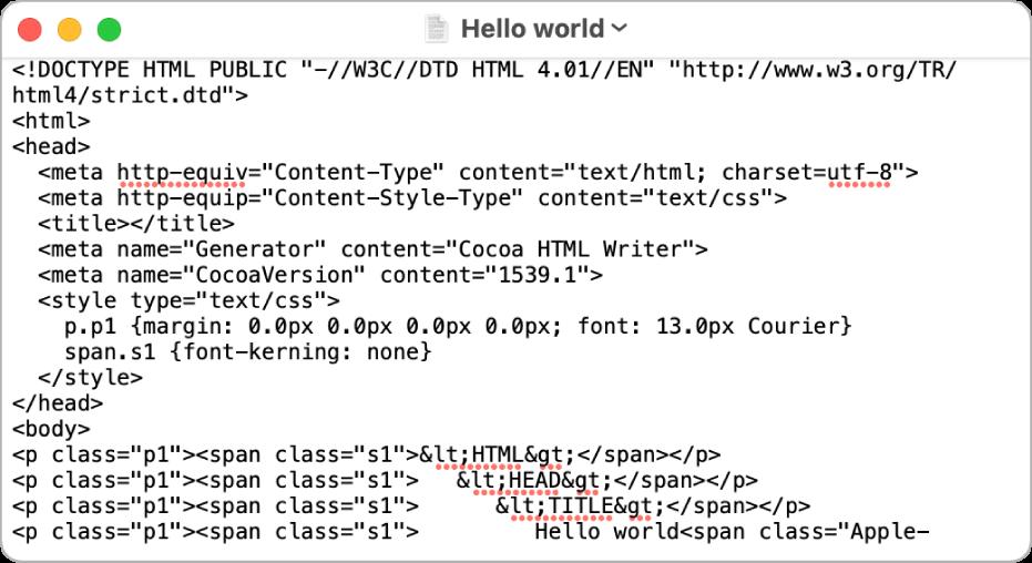 HTML datoteka u modu uređivanja koda.